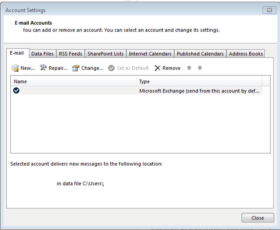 Account Settings In Outlook 2013