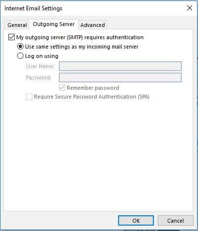 Outgoing Server Settings In Outlook 2013