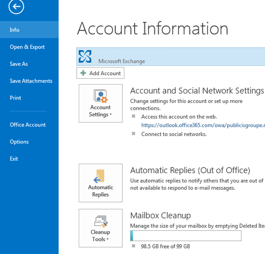 Outlook 2013 Account Information