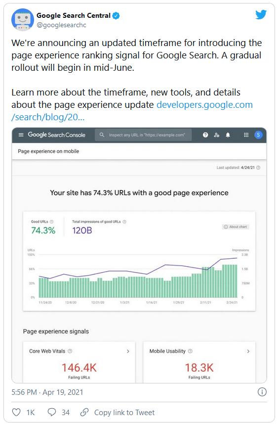 Tweet from the Google Teams regarding Core Web Vitals