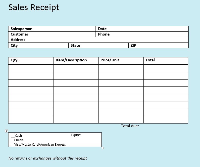 Sales Receipt Templates The Easy Way To Write Sales Receipts 11